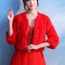 Wholesale Fashion Fur Stole - Hot Sale Red Fur Wraps Cheap Bridal Jackets Warm Faux Fur Wedding Bolero Fashion Cover up Cape Stole Winter Women Coat Shrug Shawl 2017