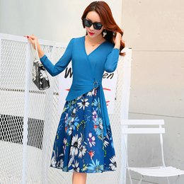 Wholesale Korea Women Floral Dress - 2017 Fashion V-Neck Chiffon Dresses Korea Style For Women Top Quality Floral Print Summer Casual Skirts Free Shipping