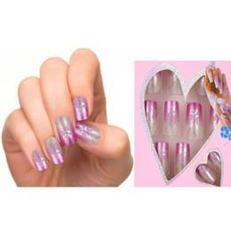 Wholesale designed nail tips - Wholesale-24pcs Pre Design Fake Nails French False Nails Beautiful Nail Tips For Nail Art Fashion Fingernail Free Glue
