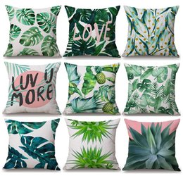 Wholesale Banana Cushion - Tropical Plants Green Leaves Cushion Covers Summer Monstera Banana Palm Leaf Pineapple Cactus Cushion Cover Linen Cotton Pillow Case