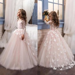Wholesale Long Sleeve Blush Wedding Dresses - 2017 Blush Lace Long Sleeves Ball Gown Flower Girls Dresses Full Butterfly Kids Pageant Gowns Little Girl Birthday Party Dresses BA4371