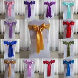Wholesale Wedding Chair Bow Decorations - Beautiful Spandex Fabric Bow Wedding Accessories For Chairs 50 Pieces Per Lot 16*270cm Chair Cover Sashes Wedding Decorations Supplies