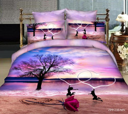 Wholesale Sunset 3d Bedding - 3D paintings individual character vogue cotton reactive printing Bedding sea sunset beach roses love 4pcs Duvet Cover Bed Sheets Pillowcases