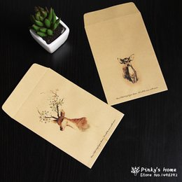 Wholesale Double Sided Photo Paper - Wholesale-(10 pieces lot) Chinese Envelope Painted Paper Envelope Vintage Christmas Deer Manila Kraft Envelope Postcard Photo Storage