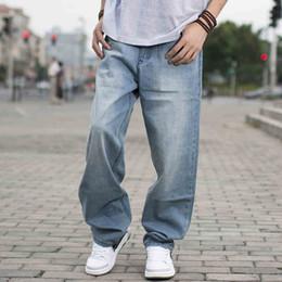 Wholesale harem pants for men pattern - Wholesale- 2017 Spring Men Baggy Blue Jeans Male Hip Hop Jogger Loose Jeans Long Skateboard Jeans For Men Harem Pants Plus Size 38 40 44 46