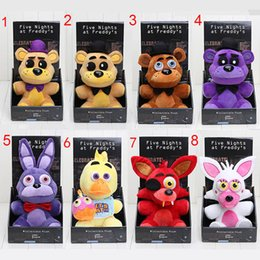 Wholesale Freddy Plush - Five Nights At Freddy's 4 FNAF Freddy 25cm chica bonnie Bear foxy Plush teddy bear Toys Doll for kids baby christmas doll gift