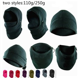 Wholesale Motor Hat - 6 in 1 Thermal Fleece Balaclava Hats Hood Police Swat Ski Mask Bike Beanies thickening Winter Wind Stopper Face Caps Motor Helmet outdoor