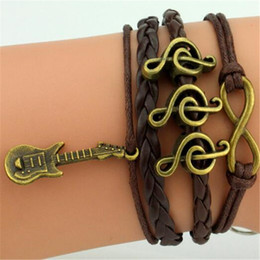 Wholesale Trend Notes Wholesale - Guitar Notes Infinity Bracelets Woven Bangles MultiLayer Braided Leather Handmade Combination Pattern Colorful Charm Bracelets Trend Jewelry