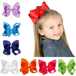 Wholesale Girls Hairclips Ribbons Bows - Hot Sale Girls Hair Accessories Baby Boutique Hair Bows Hairclips Grosgrain Ribbon Bowknot Pinwheel Headwear Newborn Infant Hair Barrette