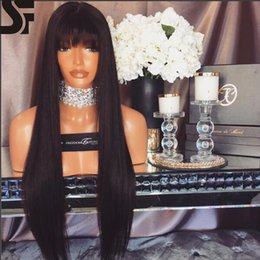 Wholesale Hair Band For Wigs - SF Lace Front Wigs With Full Bands Natural Hairline Brazilian Full Lace Wigs Virgin Human Hair With Baby Hair Lace Wigs For Black Women