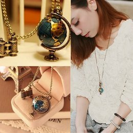 Wholesale Earth Globe Vintage - Simple fashion accessories Vintage Globe Earth Telescope Tellurion Enamel Pendant Long Chain Necklace Gifts