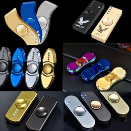 Wholesale Cigarette Lighters Led Lights - Finger Spinner Cigarette Lighter With LED Light EDC Fidget Toy Decompression Hand Spinners Metal Spinning Top USB Rechargeable OTH422