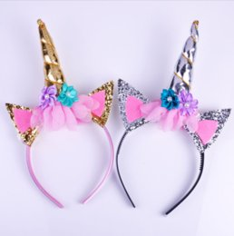 Wholesale Green Costumes - Fashion Magical Girls Kids Decorative Unicorn Horn Head Fancy Party Hair Headband Fancy Dress Cosplay Costume Jewelry Gift