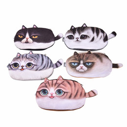Katze tasche großhandel online-Großhandel tragbare Cartoon Katze Münze Aufbewahrungskoffer Brieftasche Reisen Make-up Flanell Beutel Kosmetiktasche