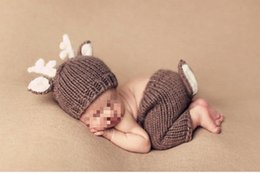 Wholesale baby knitting designs - Handmade Crochet Knitted Baby Hat Pants Set Newborn Baby Photography Props For 0-6 Months Christmas Deer Design Costume