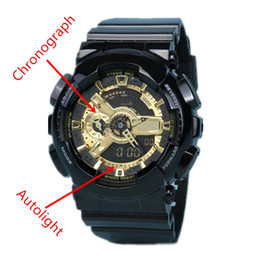 Wholesale Watch Black Luxury - Autolight top quality relogio 110 no box men's sports watches, Luxury brand men watch LED chronograph all pointers work 3ATM water resistant