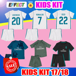 Wholesale Real Children - 2018 Real Madrid Kids Kit Soccer Jersey 2017 18 Home White Away black Third Boy Jerseys Ronaldo Bale ASENSIO ISCO Child Football Shirts