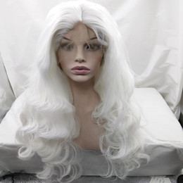 Wholesale White Wig Cosplay Long - White color body wave long hair glueless wig cosplay middle part 3-4inch