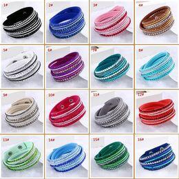 Wholesale Wholesale Fashionable Charm Bracelets - 16 Kinds of Color The New South Korea Velvet Multi-Layer Winding Diamond-encrusted Bracelet The Fashionable Glamour Crystal Jewelry