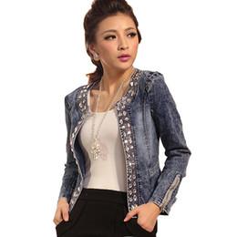 Wholesale Diamond Denim Jacket - Wholesale- LinsDenim Slim Denim Jackets Outerwear Coats Classical Rhinestone Sequins Retro Jackets Women Coats With Rivets Female Jackets