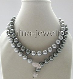 "Wholesale 12mm Rope Chain - Free Shipping *** Details about 35"" 12mm perfect round gray & peacock black south sea shell pearl necklace"