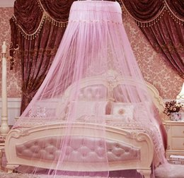 Wholesale Curtains Furniture - Universal Elegant Round Lace Insect Bed Canopy Netting Curtain Dome Polyester Bedding Mosquito Net Home Furniture DM24