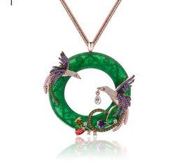 Wholesale Green Jade Circle Pendant - 18k Gold Chain AAA Rhinestone Phoenix Birds Pendants Necklaces Women Faux Round Jade Charm Necklace For Party Wedding Gfits tm