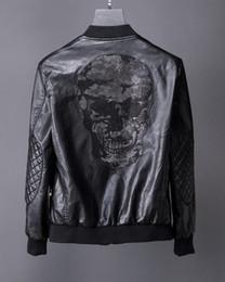 Wholesale Rib Sleeve - SS17 New arrive Winner Desinger Faux Leather Punk jacket Rhinestone P101-103 Coats PU Leather Slim fit Sporty Style Men Casual Jacket M-3XL