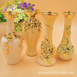 Wholesale Decorative Household - 4 optional gold bronzing European carved vase characteristics ceramic crafts household goods decorative works of art interior supplies serie