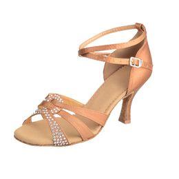 Wholesale Latin Dance Shoes Brands - K-ROAD brand Black satin rhinestones bronze Latin dance shoes female adult high heeled women's ballroom dancing shoes