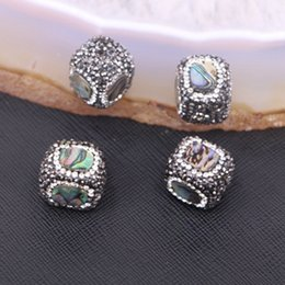 Wholesale Abalone Jewelry Making - 10pcs Fashion Natural Sea Shell Beads Cube Square Crystal Abalone Shell beads for necklace bracelet Jewelry Findings Making