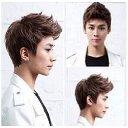 Wholesale Handsome Mixed Boys - 100% New High Quality Fashion Picture full lace wigs Hot! Handsome boys new Korean short Brown Black men's Heat hair Cosplay wigs