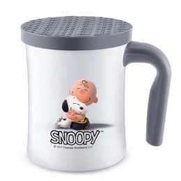 Wholesale Mug Cup Cover - Snoopy 420Ml Coffee Tea Cup Drink Flask Water Tumbler Office with Cover Black Stainless Steel Water Cups Mugs