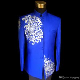 Wholesale Vintage Mens Blazers - Plus Size Vintage Mens Blue Clouds Embroidered Stand Collar Tuxedo Suit Wedding Stage Performance Blazers Suit
