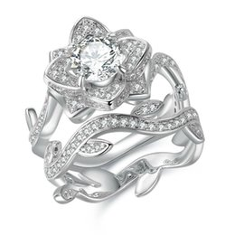 Wholesale Flowers Free Delivery - Hot Rose Flower 925 Sterling Silver Wedding Ring Engagement Bridal Sets Brilliant Jewelry For Women Fast Delivery Free Shipping