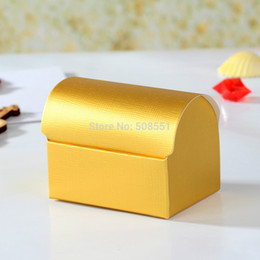 Wholesale Gold Treasure Chest - Wholesale-Free shipping! Gold Wedding Treasure Chest Favor Boxes,Candy Box, Gift Box 24pcs