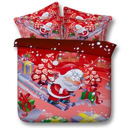 Wholesale christmas queen comforters - Bed New 3D Christmas Color Bedding Set Santa Claus ELK Christmas 100% Cotton 4 pcs Queen Size Duvet Cover Bedsheet Pillowcase Hoem Textiles