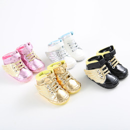 Wholesale Wholesale Shoes For Little Girls - Wholesale- New Arrival Little Boy&Girl Baby Shoes PU Leather wing Breathable Toddler First Walkers Crib Shoes for 0-18 month