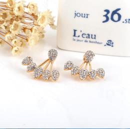 Wholesale Wholesale Earring Jacket - Korean Jewelry 2017 New Crystal Front Back Double Sided Stud Earrings For Women Fashion Ear Jacket Piercing Earing Koyle