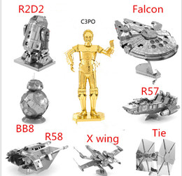 Wholesale War Puzzle - Star War Spacecraft BB8 Puzzle Toys 3D Scale Models jigsaw DIY Metallic Nano Puzzle Assembly Toys Birthday Gifts