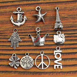 Wholesale Princess Sign - Wholesale- Mixed Tibetan Silver Anchor Princess Crown Peace Sign Tree of Life Charm Fashion Pendant Jewelry Accessories Diy Findings m047