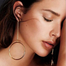 Wholesale Earings Gold Round Wholesale 18k - New Trendy Jewelry Earings Simple Round Circle Big Earrings For Women Jewelry Earings Silver Gold Color Drop Earrings XR