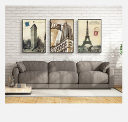 Wholesale United Landscaping - 3 paintings Europe and the United States architectural home decoration painting wall art painting canvas printing posters