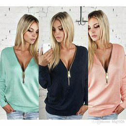 Wholesale Hoodie Jacket For Womens - Sexy deep V neck zipper bat sleeve women hoodies fashion spring solid thin jacket hoodie for womens free shipping