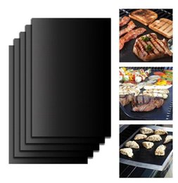 Wholesale Portable Charcoal Bbq - 2pcs a set Reusable BBQ Grill Mat Pad Sheet Hot Plate Portable Easy Clean Nonstick Bakeware Cooking Tool BBQ Accessories