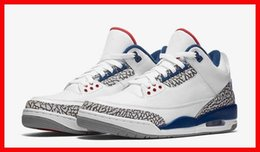 Wholesale Hiking Fire - 2016 men basketball shoes new air retro 3 III OG Cement true blue White Fire Red 3S mens sport sneakers running shoe online