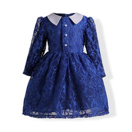 Wholesale Baby Girl Dresses Blue Lace - Kids Girls Lace Dresses 3-9Year Baby Girl Floral Embroidery Dress Boutique 2017 Autumn Infant Princess Blue Dress for Party Children Clothes