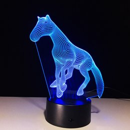 Wholesale Led Horse Night Light - 3D Foal Horse Illusion Lamp Night Light DC 5V USB Charging AA Battery Wholesale Dropshipping Free Shipping Retail Box