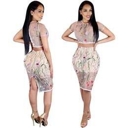 Wholesale Tight Mesh Dress - Woman Sexy Mesh Two Piece Set Dresses 2017 Summer Woman Fashion Tight O Neck Mesh Embroidery Short Sleeve Bodycon Dress