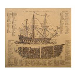 Wholesale Antique Wall Murals - 1 pcs Ancient Warships Design Drawings Movie Kraft Paper Poster History Wall Sticker Painting Antique Home Decor